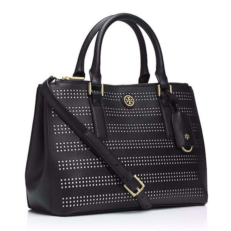 Tory Burch Robinson Perf Mini Double Zip Tote Black 51149739-010