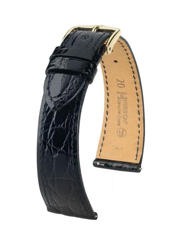Hirsch Genuine Croco 17mm Large Svart/Guld 18920850-1-17