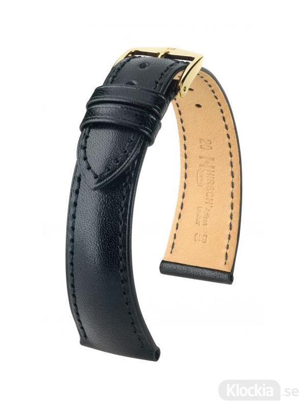 Hirsch Siena, Artisan Leather 14mm Medium Svart/Guld 04202150-1-14