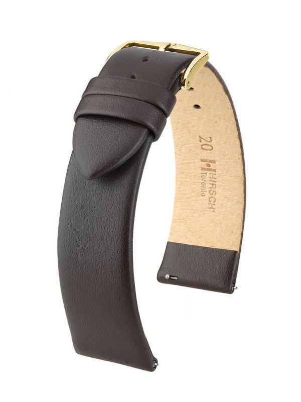 Klockarmband Hirsch Toronto 10mm Medium Brun/Guld 03702110-1-10