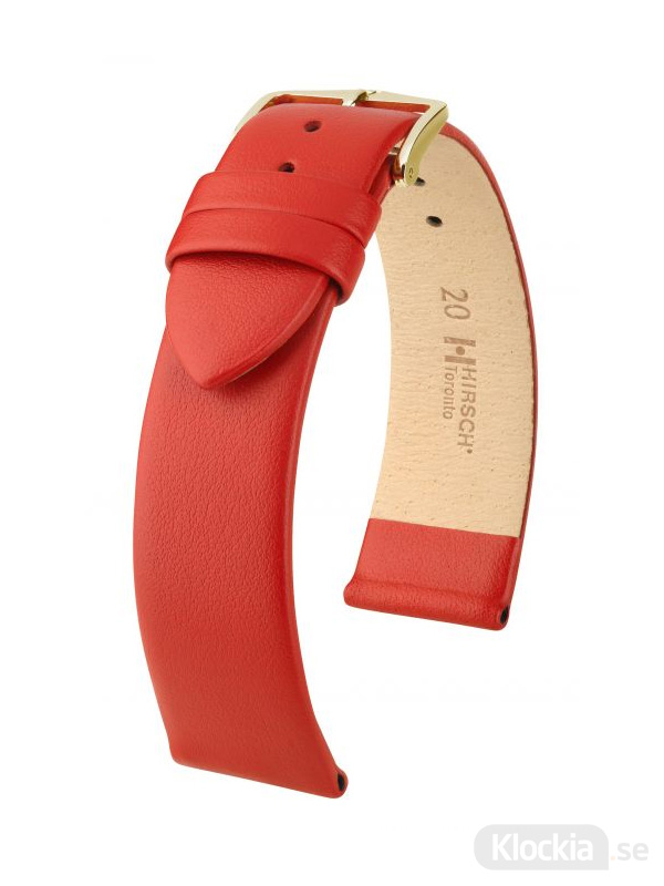 Klockarmband Hirsch Toronto 16mm Medium Röd/Guld 03702120-1-16