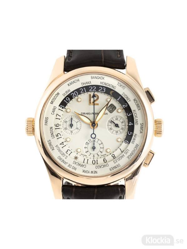 Begagnad Girard-Perregaux World Time 18c Rose Gold Chronograph 4980
