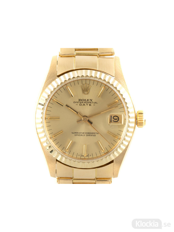 Begagnad Rolex Date 31 18c Gold Oyster Perpetual 6824