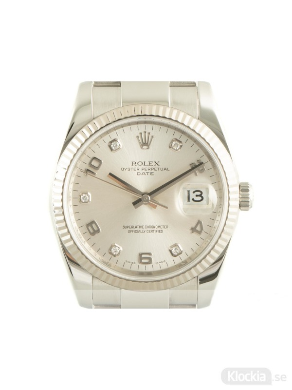 Begagnad Rolex Datejust 34 18c White Gold/Steel Oyster Perpetual 115234