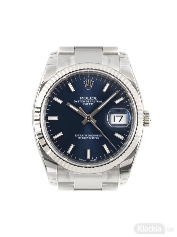 Begagnad Rolex Date 34 18c White Gold/Steel 115234