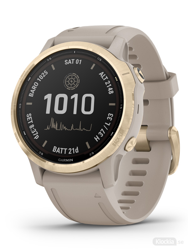 Garmin fēnix® 6S - Pro Solar, Ljust guld med ljust sandfärgat armband