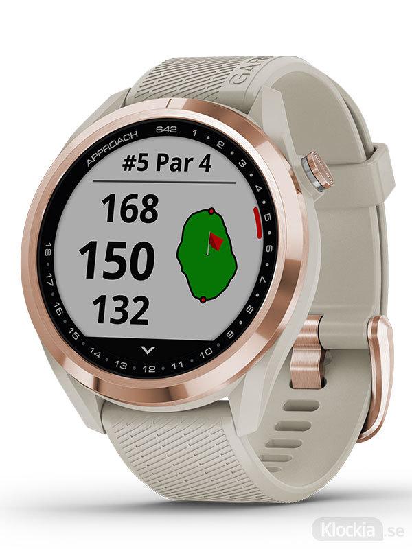 Garmin Approach S42 Roséguld med ljust sandfärgat armband 010-02572-02